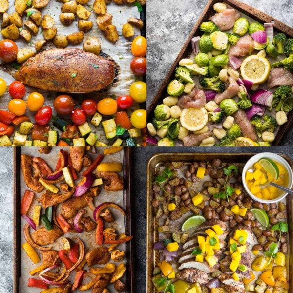 collage image of four sheet pan chicken breast recipes