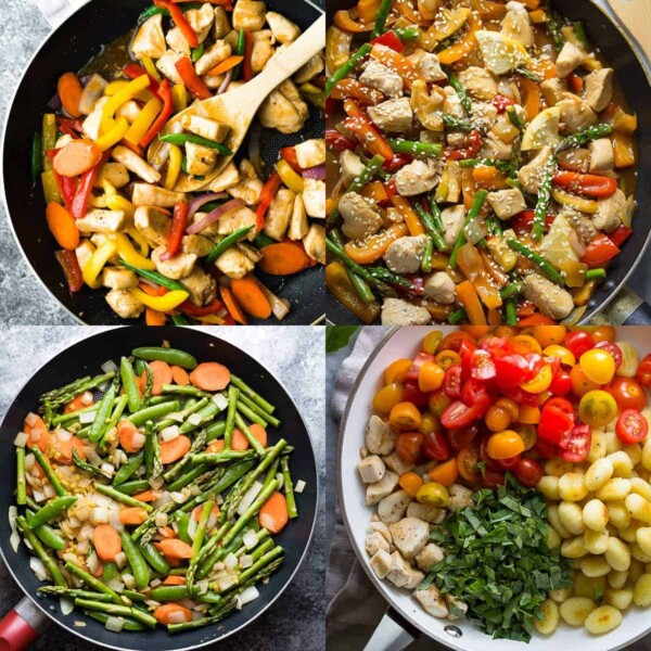 collage image of four Stir Fry and Skillet Chicken Breast Recipes