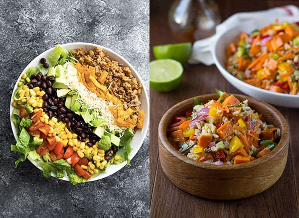 collage image with Cold Salad Lunch Ideas