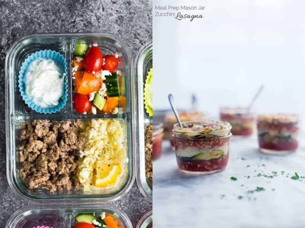 collage image with Carb Greek Turkey Meal Prep and Mason Jar Zucchini Lasagna