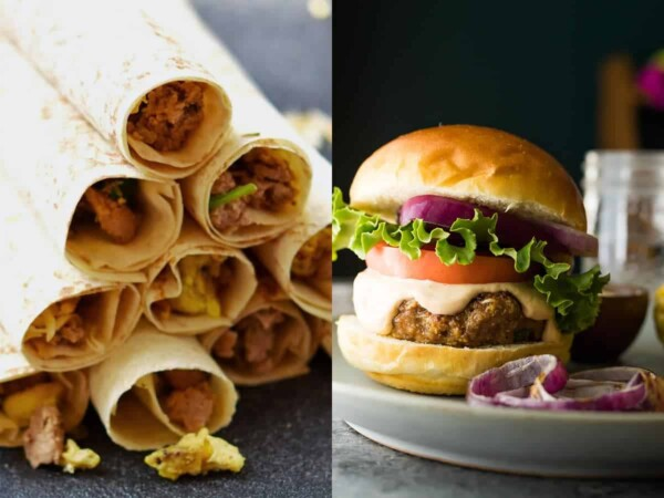 collage image with Breakfast Turkey Taquitos and Southwestern Grilled Turkey Burgers