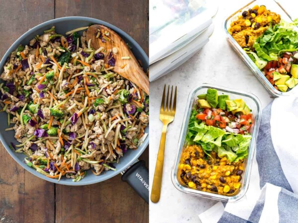 collage image with The Ultimate Low Carb Stir Fry and Meal Prep Instant Pot Taco Bowls