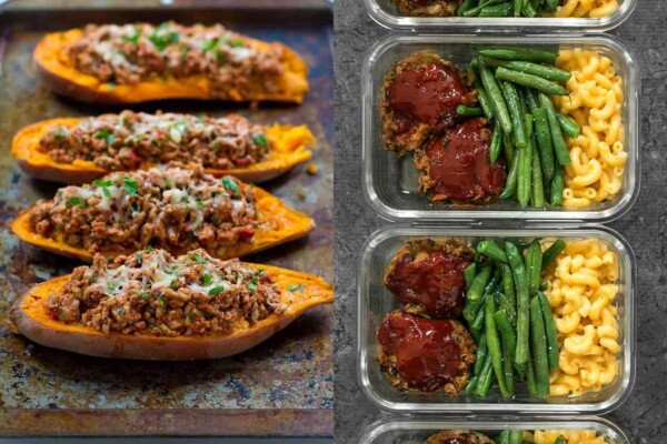 collage image with Turkey Taco Stuffed Sweet Potatoes and Garden Vegetable Turkey Loaf Meal Prep
