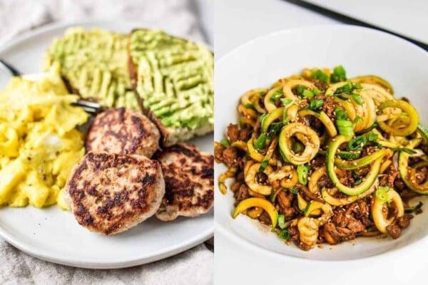 collage image with Best Ground Turkey Breakfast Sausage Patties and Chinese 5 Spice Ground Turkey Zucchini Noodles