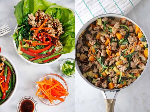 collage image with Thai Basil Turkey Bowls from and Turkey Apple Breakfast Hash