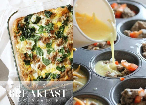 collage image with Turkey & Egg Breakfast Casserole and Make Ahead Egg Muffins