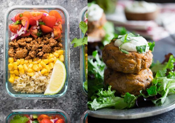 collage image with Turkey Taco Lunch Bowls and Sweet Potato Turkey Patties