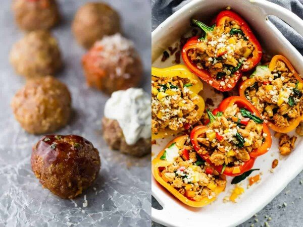 collage image with Baked Turkey Meatballs 7 Ways and Spicy Southwestern Whole30 Stuffed Peppers