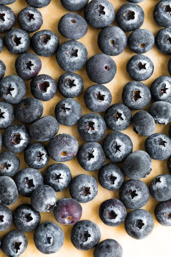 blueberries on a parchment lined baking sheet