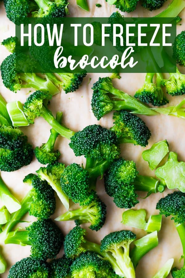 broccoli florets with text overlay how to freeze broccoli