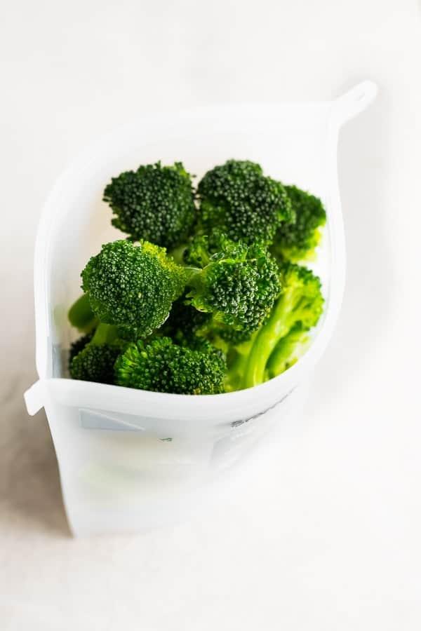 broccoli florets in a reusable freezer bag