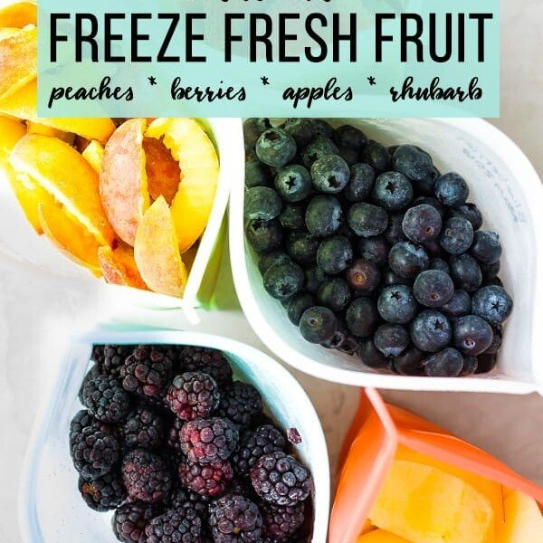 overhead shot of variety of fruits in freezer bags with text how to freeze fresh fruit