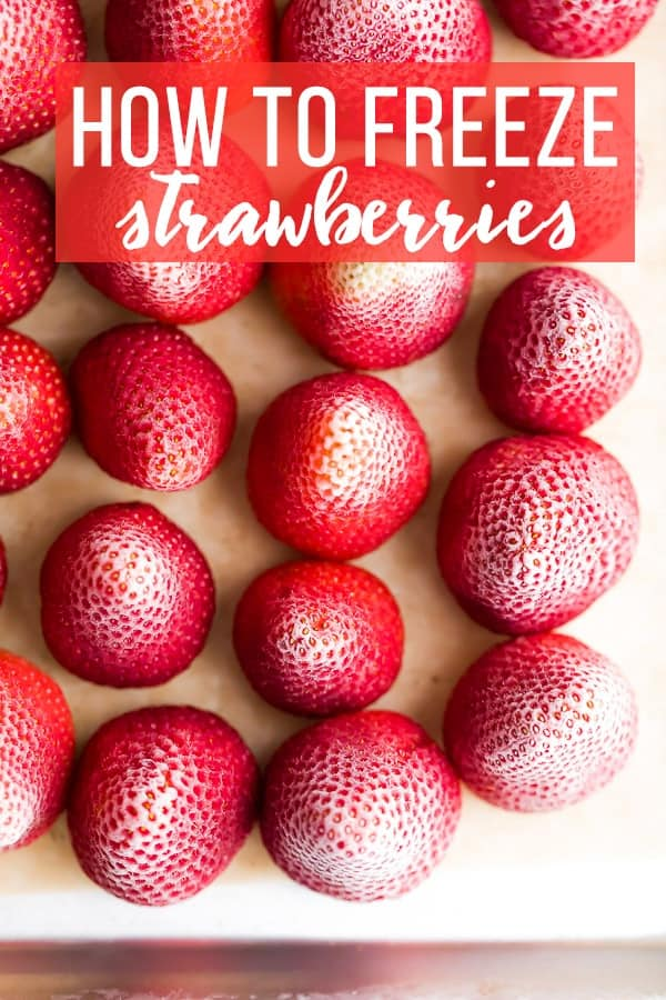 How to Freeze Strawberries; close up image of frozen strawberries