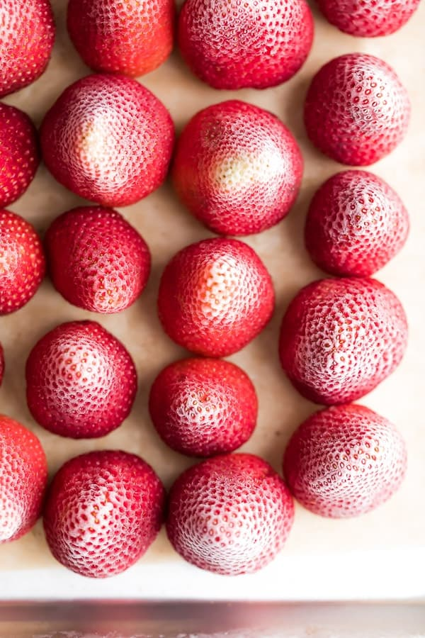 close up on frozen strawberries