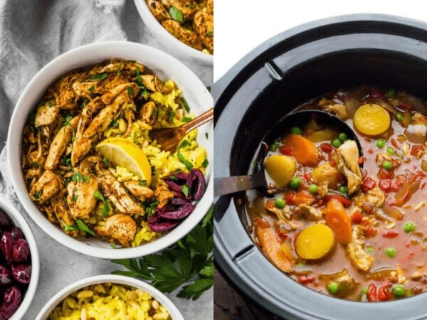 collage image of Slow Cooker Chicken Shawarma and Slow Cooker Spanish Chicken Stew