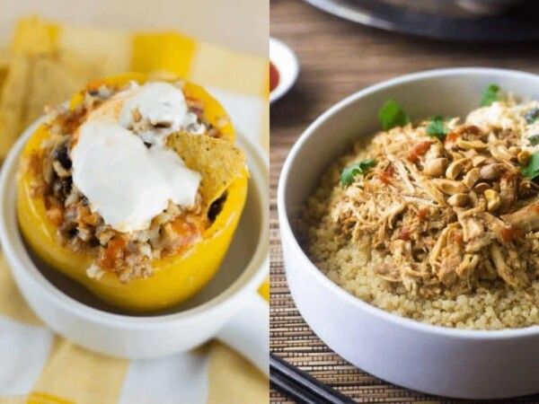 collage image of Vegetarian Stuffed Peppers and Thai Chicken Quinoa Bowls