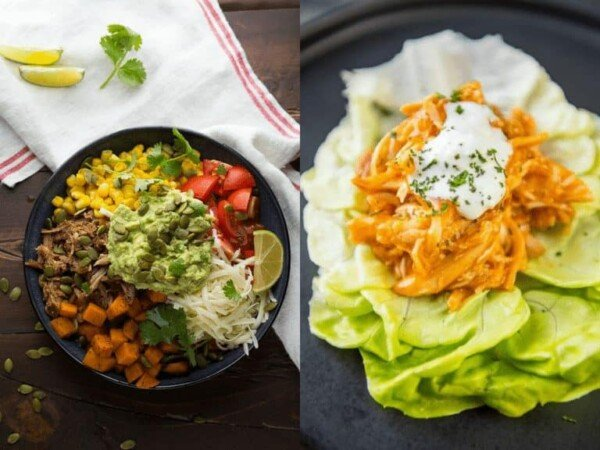collage image of Maple Pulled Pork Burrito Bowls with Sweet Potatoes and Pepitas and Slow Cooker Buffalo Chicken Lettuce Wraps