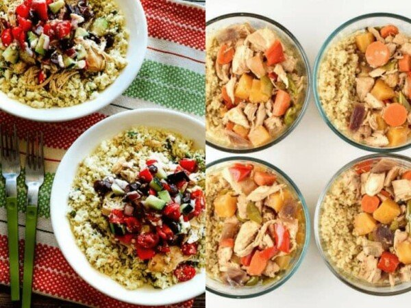 collage image of Low-Carb Cauliflower Rice Greek Chicken Bowls and Chicken Teriyaki Quinoa Bowls