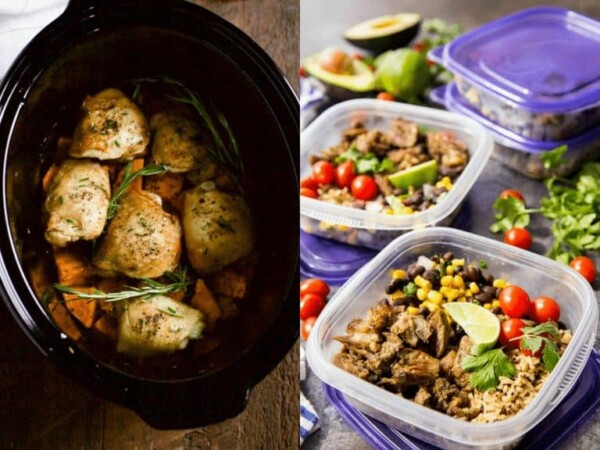 collage image with Slow Cooker Chicken and Sweet Potato and Easy Pork Carnitas Meal Prep Bowls