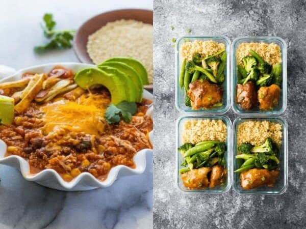 collage image with Slow Cooker Chicken Quinoa Chili and Sticky Slow Cooker Honey Garlic Chicken Thighs