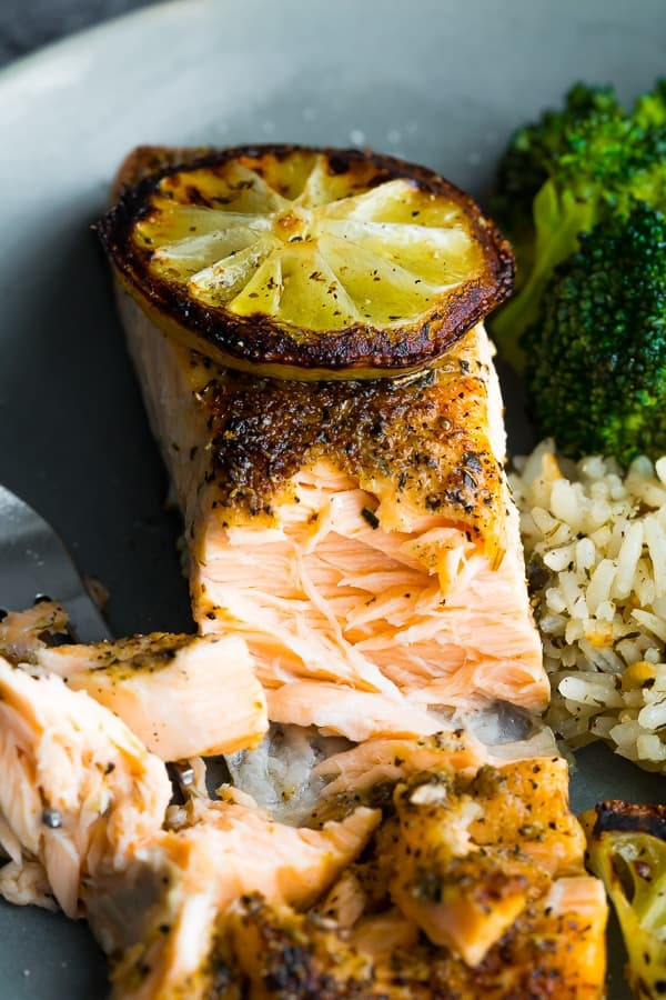 close up of broiled salmon