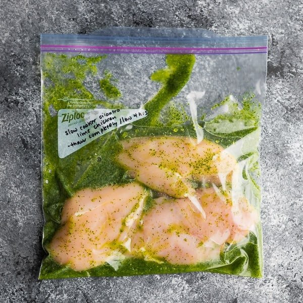 slow cooker chicken breast recipes; slow cooker cilantro lime chicken in bag