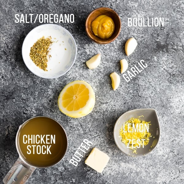 ingredients for chicken crock pot recipes; slow cooker lemon garlic chicken