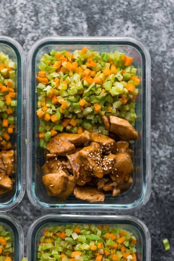 overhead shot of Broccoli Rice Teriyaki Chicken Meal Prep in glass container