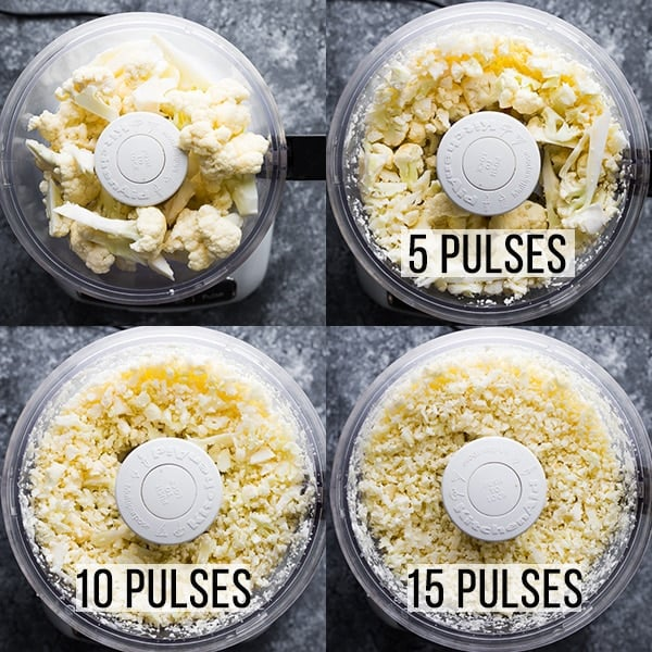 how do you make cauliflower rice- step by step photos of processing it in the food processor