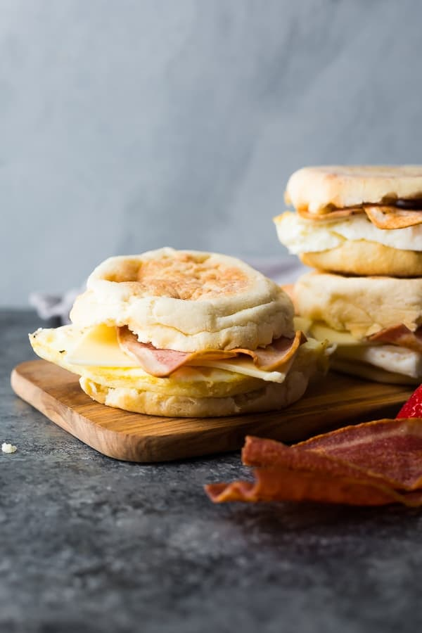 Copycat Starbucks Breakfast Sandwich on cutting board
