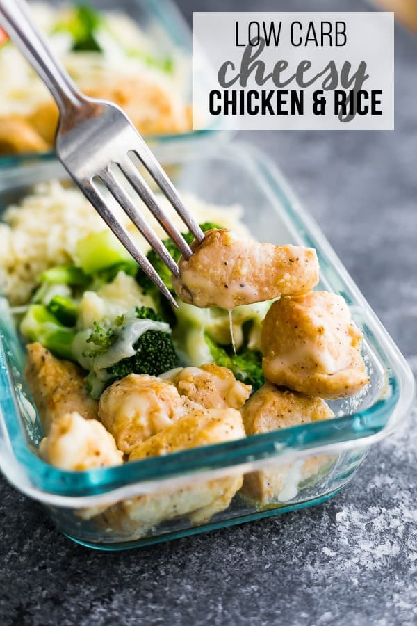 Low carb cheesy chicken and rice is a delicious low carb lunch option! Pan-fried chicken breast and broccoli are smothered with cheese and served over cauliflower rice. Filling but light with only 5 g carbs and 43 g of protein. #sweetpeasandsaffron #lowcarb #mealprep #lunch #cauliflowerrice #chicken #healthy #glutenfree #cleaneating