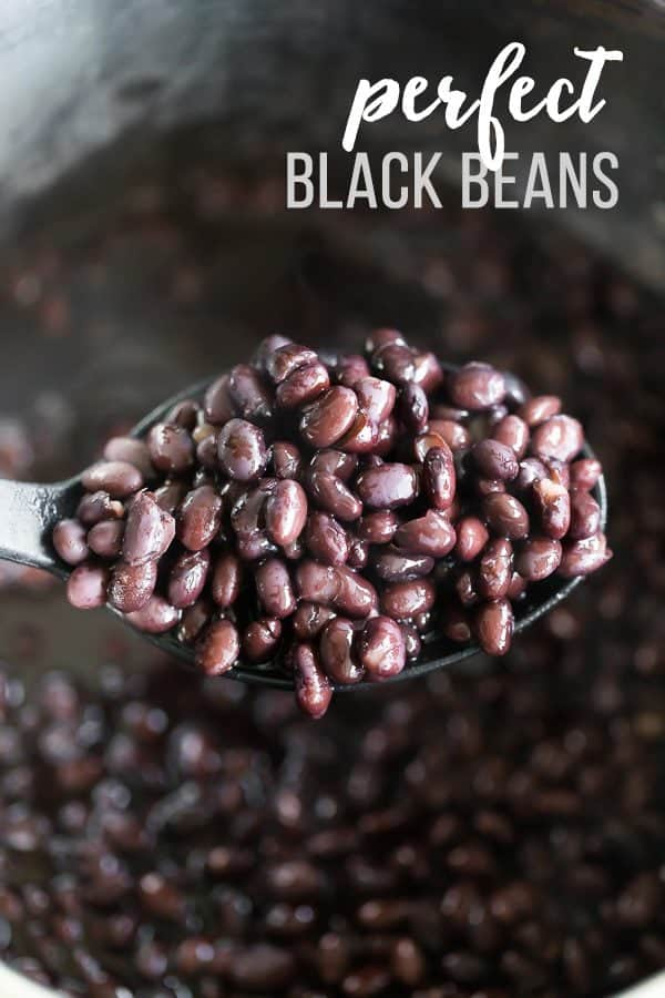 Close up shot of black beans on a spoon