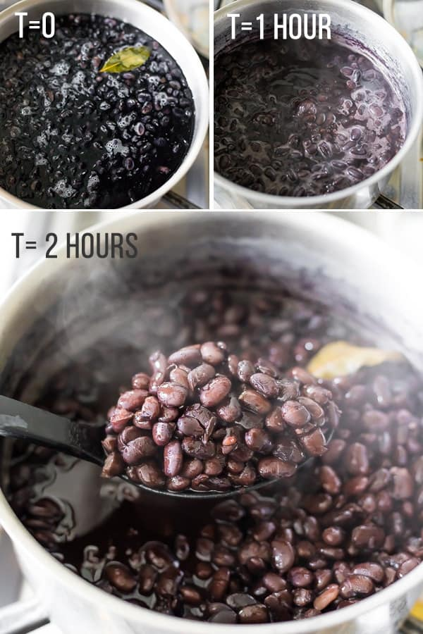 collage image showing cook times on stove top for perfect black beans