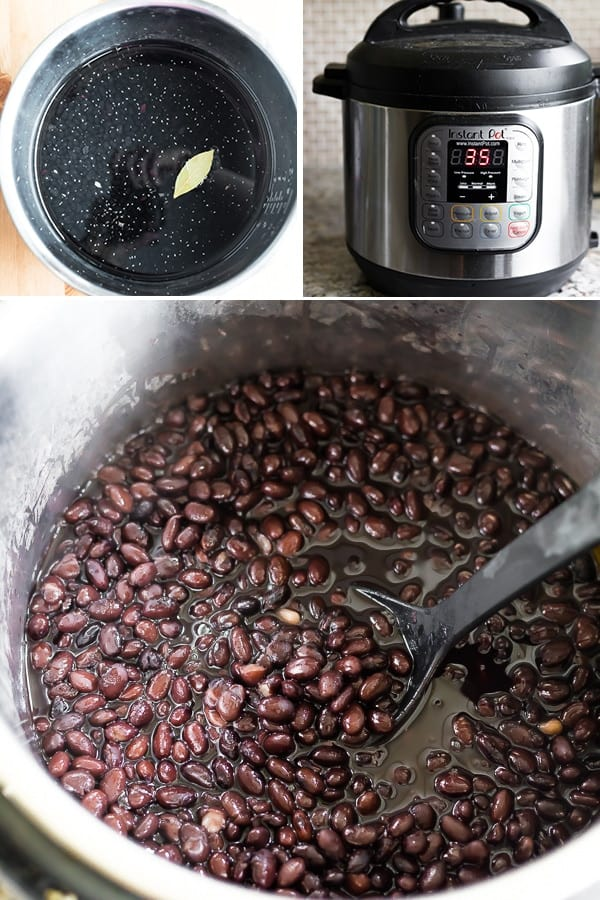 collage image showing how to cook black beans in the Instant Pot
