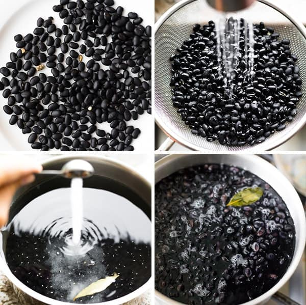 collage image showing how to prep the perfect black beans