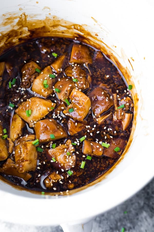 slow cooker chicken teriyaki in slow cooker after cooking