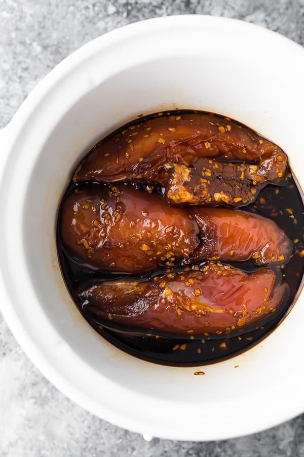 slow cooker teriyaki chicken recipe in slow cooker before cooking