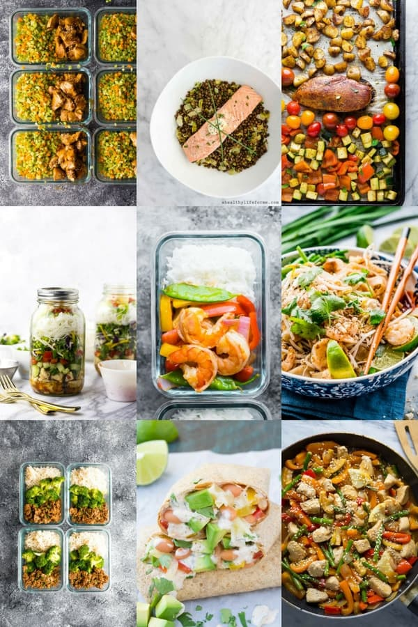 collage image with nine 30 minute meal prep recipes