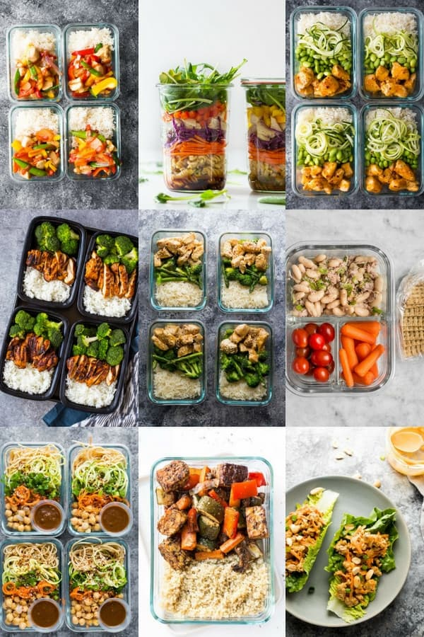 collage image with nine quick healthy meals for meal prep