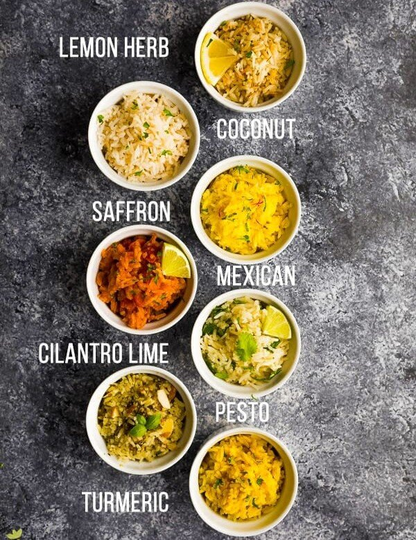 overhead shot of a variety of seven easy rice recipes with text description