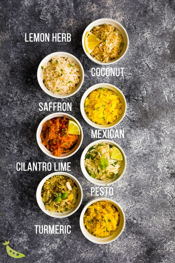 overhead shot of seven easy rice recipes with labels in white bowls