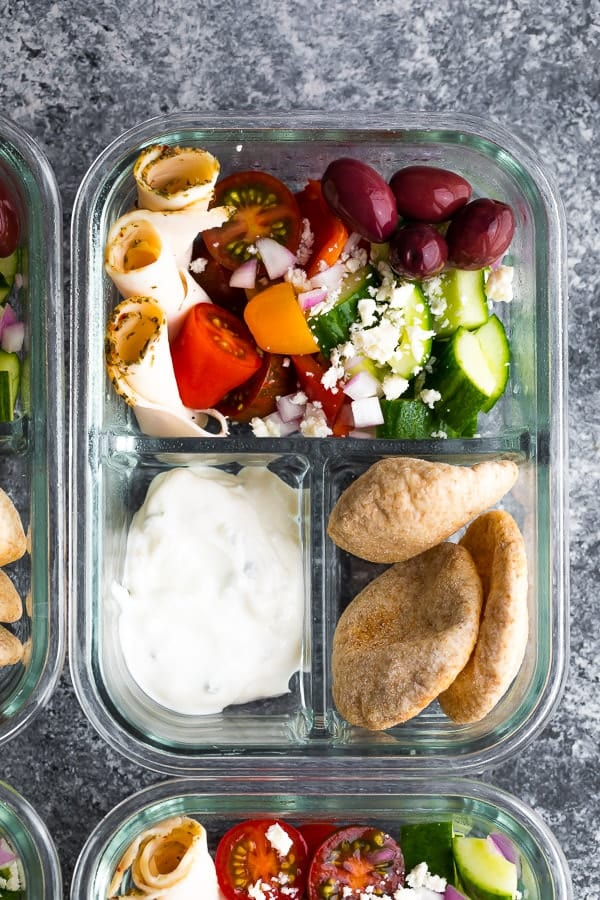 close up of a No Cook Greek Pita Bento Box