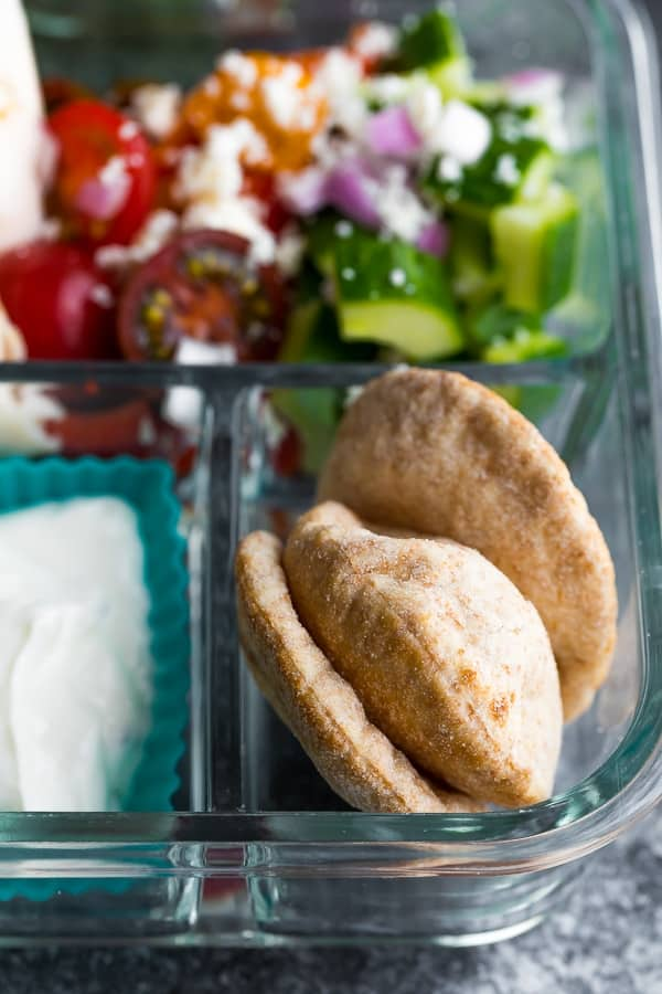 close up of the pita bread in the No Cook Greek Pita Bento Box
