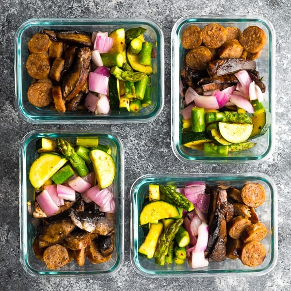 low carb breakfast meal prep in meal prep containers on grey background