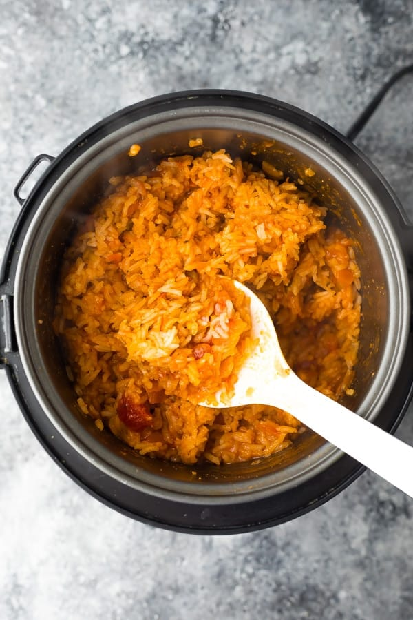 mexican rice in slow cooker after being cooked