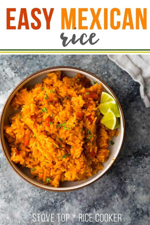 This easy Mexican rice recipe uses jarred salsa as a quick but super tasty short cut. Instructions on how to make this Mexican rice recipe in a rice cooker or on the stove top! #sweetpeasandsaffron #mexican #rice #mexicanrice #glutenfree #ricecooker #side #freezer #mealprep
