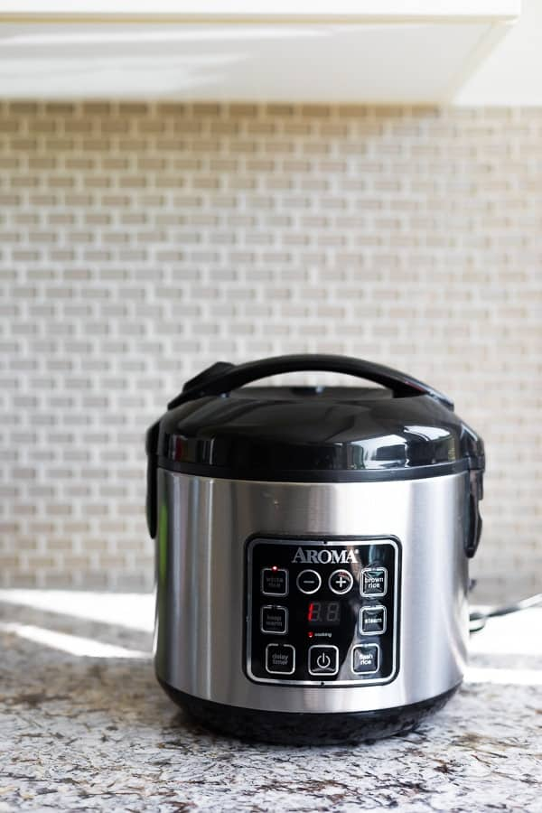 Aroma slow cooker sitting on counter