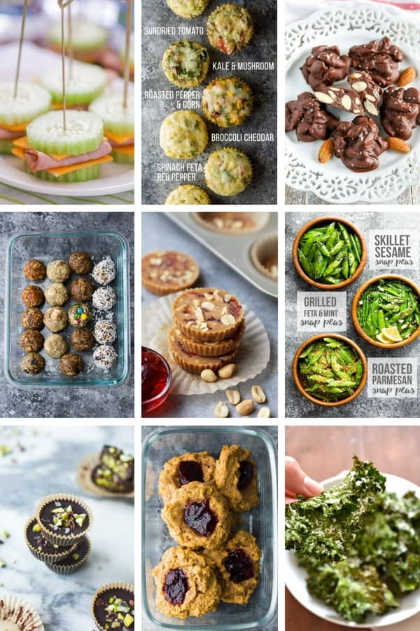 36 Healthy Snack ideas collage image