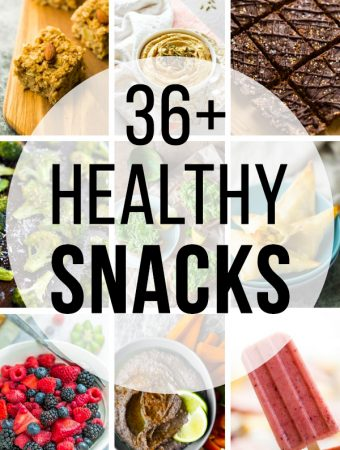 collage image with text overlay saying 36 healthy snacks