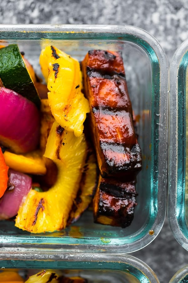 close up shot of vegan barbecue tofu bowls with pineapple slices